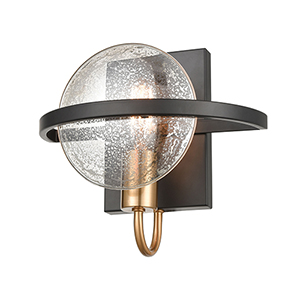Oriah Matte Black and Satin Brass One-Light Wall Sconce