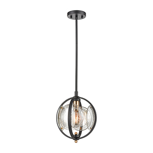 Oriah Matte Black and Satin Brass One-Light Pendant