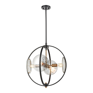 Oriah Matte Black and Satin Brass Four-Light Pendant