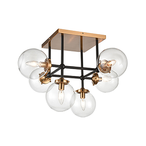 Boudreaux Matte Black and Antique Gold Six-Light Semi Flush Mount