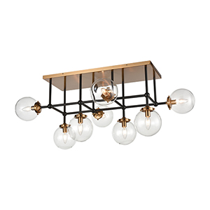 Boudreaux Matte Black and Antique Gold Eight-Light Semi Flush Mount