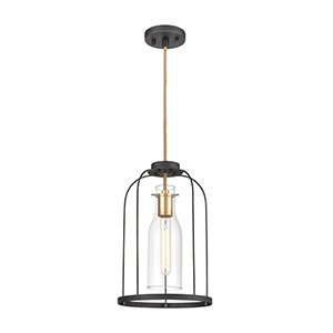 Sheena Silverdust Iron and Satin Brass One-Light Pendant