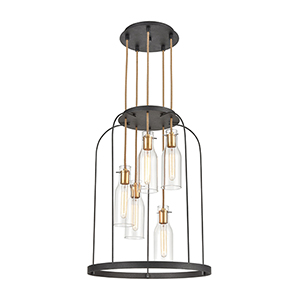 Sheena Silverdust Iron and Satin Brass Five-Light Pendant