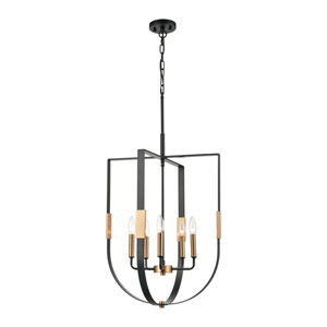 Heathrow Matte Black and Satin Brass Five-Light Chandelier