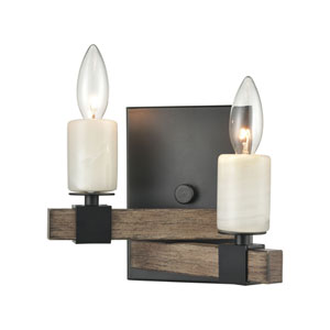 Stone Manor Aspen and Matte Black Two-Light Wall Sconce