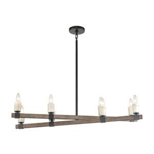 Stone Manor Aspen and Matte Black Eight-Light Island Chandelier