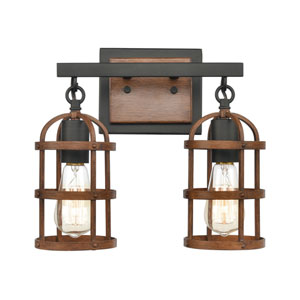 Millville Oil Rubbed Bronze and Dark Oak Two-Light Bath Vanity