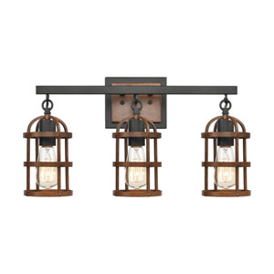 Millville Oil Rubbed Bronze and Dark Oak Three-Light Bath Vanity
