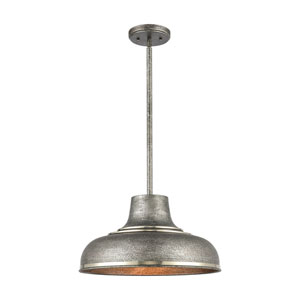 Kerin Textured Silvery Gray and Polished Nickel One-Light Pendant
