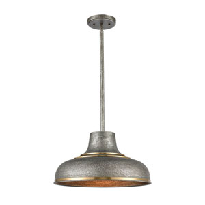 Kerin Textured Silvery Gray and Satin Brass One-Light Pendant