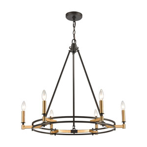 Talia Oil Rubbed Bronze and Satin Brass Six-Light Chandelier