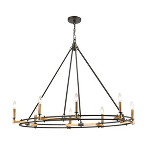 Talia Oil Rubbed Bronze and Satin Brass Eight-Light Island Chandelier