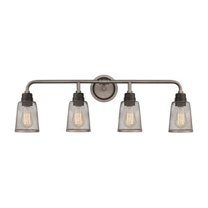 Glencoe Weathered Zinc and Oil Rubbed Bronze Four-Light Bath Vanity