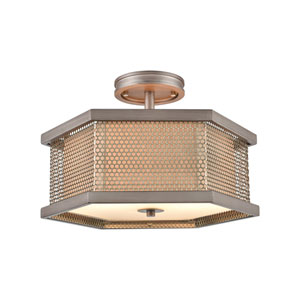 Crestler Weathered Zinc and Polished Nickel Two-Light Semi Flush Mount