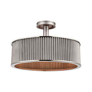 Corrugated Steel Weathered Zinc and Polished Nickel Three-Light Semi Flush Mount