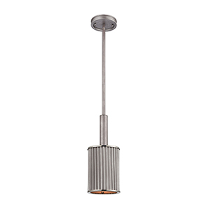 Corrugated Steel Weathered Zinc and Polished Nickel One-Light Mini Pendant