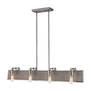 Corrugated Steel Weathered Zinc and Polished Nickel Eight-Light Pendant