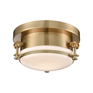 Riley Satin Brass One-Light Flush Mount