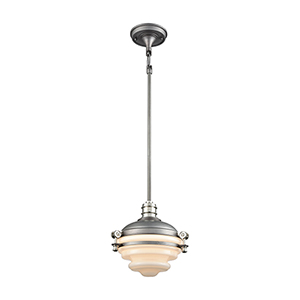 Riley Weathered Zinc and Polished Nickel Nine-Inch One-Light Mini Pendant