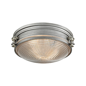 Sylvester Weathered Zinc and Satin Nickel Two-Light Flush Mount