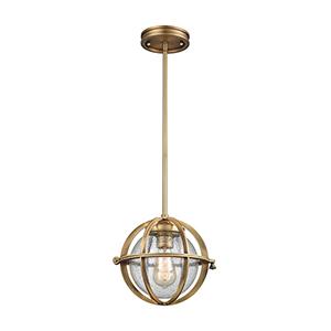 Aubridge Classic Brass 10-Inch One-Light Mini Pendant with Clear Seedy Blown Glass
