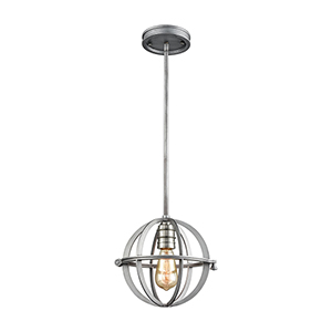 Aubridge Weathered Zinc and Polished Nickel One-Light Mini Pendant