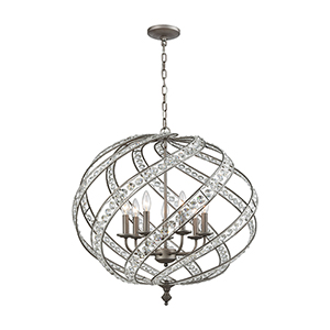 Renaissance Weathered Zinc Seven-Light Pendant