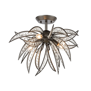 Naples Dark Graphite Five-Light Semi Flush Mount