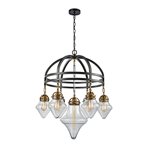 Gramercy Classic Brass and Oil Rubbed Bronze Seven-Light Chandelier
