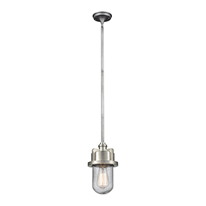 Briggs Weathered Zinc and Satin Nickel One-Light Mini Pendant