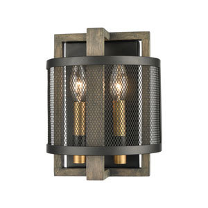 Woodbridge Matte Black and Aged Brass Two-Light Wall Sconce