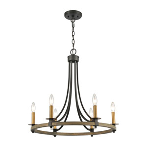 Woodbridge Matte Black and Aged Brass Six-Light Chandelier