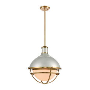 Jenna Satin Silver and Satin Brass One-Light Pendant