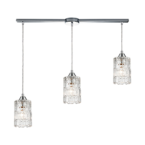 Ezra Polished Chrome Three-Light 36-Inch Pendant With Clear Crystal