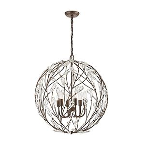 Crislett Sunglow Bronze Six-Light Pendant With Clear Crystal