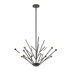 Ocotillo Oil Rubbed Bronze 12-Light 35-Inch Chandelier With Frosted Glass
