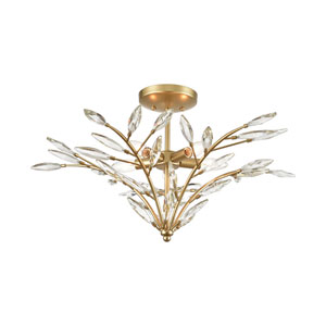 Flora Grace Champagne Gold Five-Light Semi Flush Mount