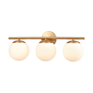 Hollywood Satin Brass Three-Light Bath Vanity