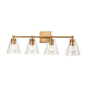 East Point Satin Brass Four-Light Bath Vanity