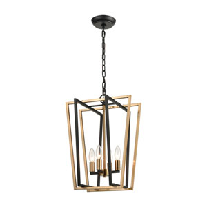 Bridgette Matte Black and Satin Brass 14-Inch Four-Light Pendant