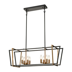 Bridgette Matte Black and Satin Brass Eight-Light Island Chandelier