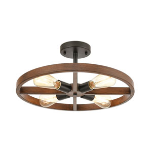 Wheeling Matte Black and Dark Oak Four-Light Semi Flush Mount