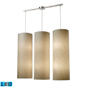 Fabric Cylinders Satin Nickel Three-Light LED Pendant