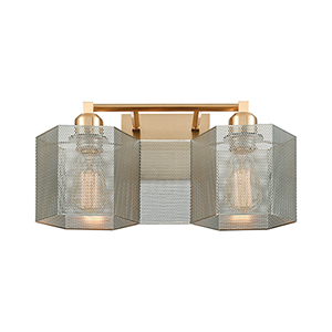 Compartir Satin Brass and Polished Nickel Two-Light Vanity Light