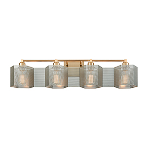 Compartir Satin Brass and Polished Nickel Four-Light Vanity Light