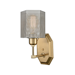 Compartir Polished Nickel and Satin Brass One-Light Wall Sconce