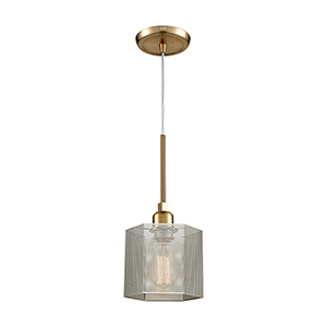 Compartir Polished Nickel and Satin Brass One-Light Mini Pendant