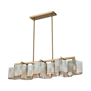 Compartir Polished Nickel and Satin Brass 10-Light Island Pendant