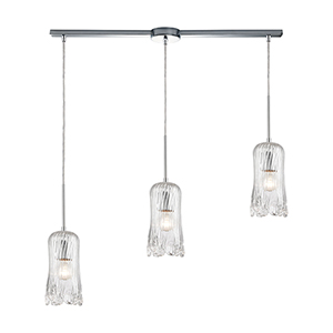 Hand Formed Glass Polished Chrome Three-Light 36-Inch Pendant With Frosted Glass