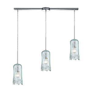 Hand Formed Glass Polished Chrome Three-Light 36-Inch Pendant